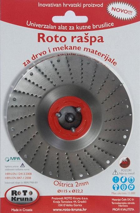 ROTO rotační rašple pro úhlové brusky 115 x 2,0 mm