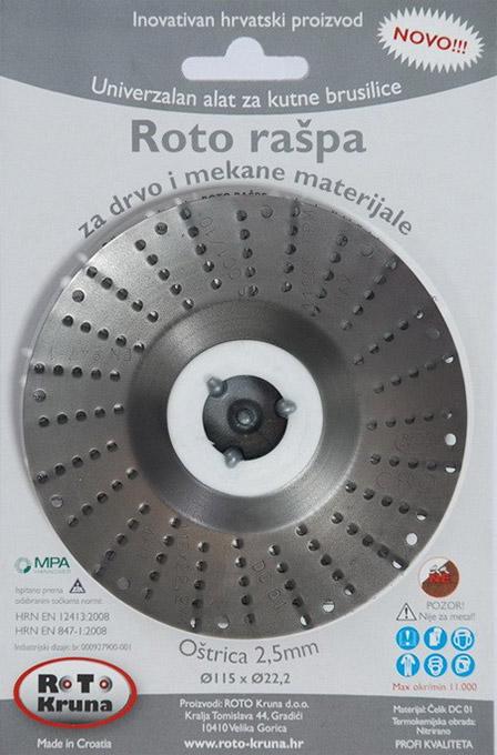 ROTO rotační rašple pro úhlové brusky 115 x 2,5 mm