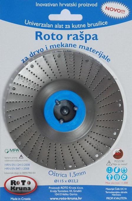 ROTO rotační rašple pro úhlové brusky 115 x 1,5 mm