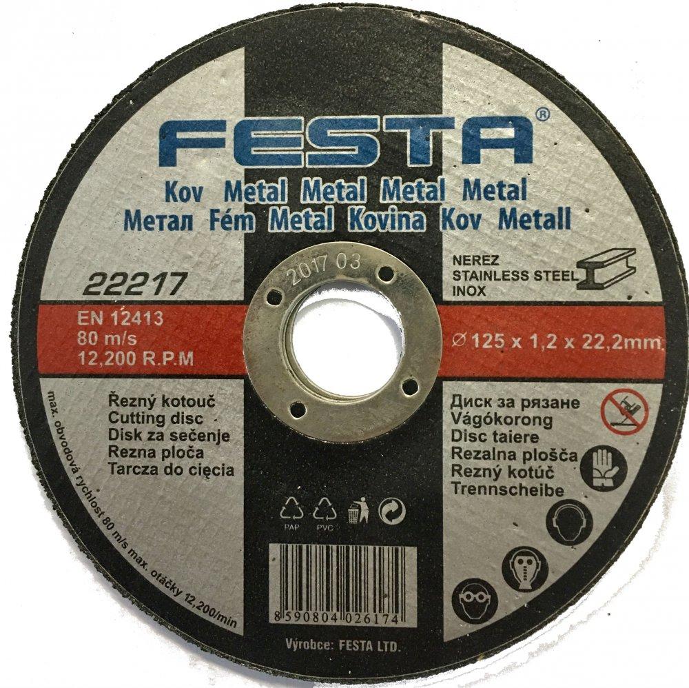FESTA řezný kotouč na kov a nerez 125 x 1,2 x 22,2 mm
